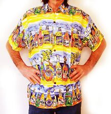 Mens Hawaiian shirt, yellow with beer bottles, XS, 44""