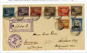 109.  Costa Rica 1912.  Registered letter with seven different 1911 difficult su