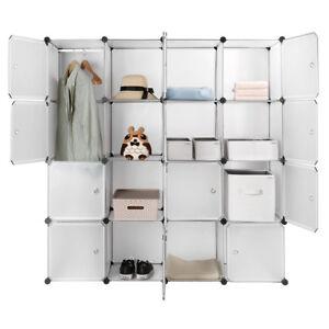 16-Cube Closet Organizer Interlocking Plastic Wardrobe Storage Cabinet