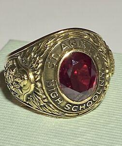College Ring  High School Ring  1956 Gold antik