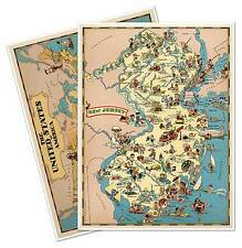 Two Map Set - New Jersey & USA by Ruth Taylor White circa 1933 - 18 x 24 prints