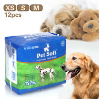 12pcs Male Dogs Disposable Pet Diapers Absorbent Soft Heating Pee Diapers XS-M