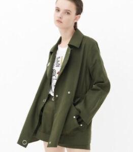 Sandro Paris Khaki Green Parka Jacket Blazer Size 36 UK 6 8 Military S Light