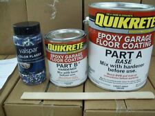 Quikrete Epoxy Garage Floor Coating Kit Light Gray w/blue Valspar Color Flakes
