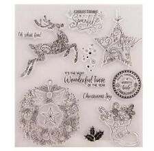 11 LARGE CHRISTMAS CLEAR STAMPS-XMAS GREETINGS-REINDEER/HOLLY WREATH/STAR/BOOT