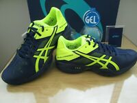 ASICS GEL-SOLUTION 3 SPEED BLUE NEON MULTI SPORTS COURT TRAINERS SIZE UK 6 EU 40