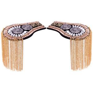 1 Pair Gothic Metal Tassel Epaulette Shoulder Board Brooches Costume Epaulet