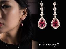 drop pink teardrop Micro pave Cubic Zircon 925 silver platinum stud earrings A19