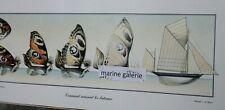 Poster affiche art décoration marine voile enfant voilier yawl dessin 64cm Neuf