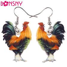 BONSNY Acrylic Farmyard Chicken Hen Cockerel Charm Dangle Drop Animal  Earrings