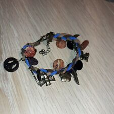 Ladies leather and charm bracelet with clasp, lovely beach holiday wear