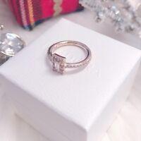 NEW Authentic PANDORA Rose™ Gold Engagement Ale Luminous Ice CZ Ring 187541CZ