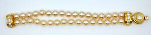 💥Vintage Signed Kenneth Jay Lane KJL Gold Tone Rhinestone Pearl Bracelet