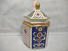 More details for aynsley porcelain hexagonal lidded trinket box imperial pattern