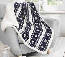 Blue Grey and White Alpine Arctic Fleece Blanket Throw Bedspread 130cm X 160cm