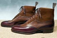Men's Handmade Best leather dress boots suede plain leather two tone boots