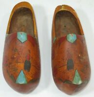 VTG Hand Carved Dutch Wood Shoes Clogs Painted Wind Mill Floral