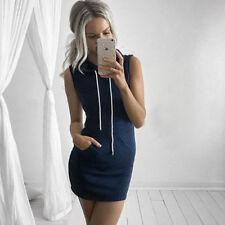 Fashion Women Slim Bodycon Clubwear Bandage Mini Dress Ladies Hoodie Tops UK6-14