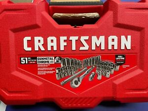 Brand New Craftsman 51 Pc SAE/Metric Gunmetal Chrome Mechanics Set CMMT82334