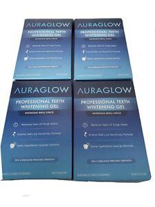 Lot of 4  AuraGlow Teeth Whitening Gel Syringe Refill Pack. Ex. 2/21