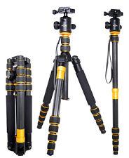 Q666C Portable Carbon Fiber Camera Tripod Monopod Kit & BallHead Compact Travel
