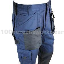 """Size 44"""" Waist TALL Leg NAVY BLACK Blackrock Workman Work Trousers Pants Cargo"""