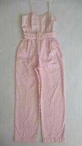 Watercolor Jumpsuit  vintage 70s white jumper boho hippie floral pants dress 1970s 80s 1980s  XSS
