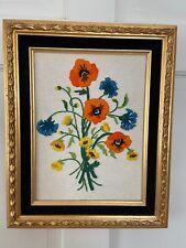 Vtg Embroidered Hand Made Floral Bouquet Framed Art with Hanger 13Wx16L