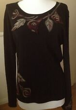 Women Knit Blouse By Philippe Carat Size XL Black