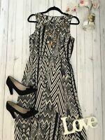 M&S Size 12 floor length black cream sequin maxi high slit dress per una VGC