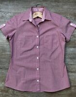 Vintage Style Women's Red Cotton Short Sleeved Cotton Gingham Petite Fit Shirt