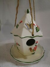 "Ceramic Bird House with Feeding Tray & Hanging Ropes Hand Painted 7"" Tall"