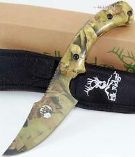 Elk Ridge Curved Upsept Full Tang Camo Skinner Hunting Knife + Sheath New