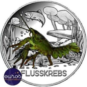 Pièce 3 euros commémorative AUTRICHE 2019 - L'Ecrevisse - Pièce phosphorescente