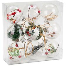 Décorations De Noël Boule en Verre laiteux à moitié transparent 6 pièces