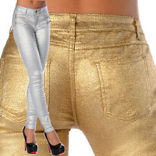 Sexy Stretchy Women's Silver / Gold Jeans Trousers Skinny Slim Metallic Z 114