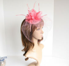 Church Derby Wedding Sinamay w Feathers & Veil Fascinator Cocktail Pink 533