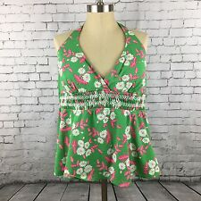 Liz Lange Target Maternity Tankini Suit Top Size XL Green Floral Swimwear Swim
