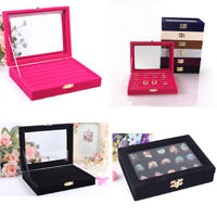 Velvet Glass Jewelry Ring Display Organizer Box Tray Holder Earring Storage Case