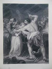 Original c1880 Antiquarian Engraving of Baliol Surrendering to Edward the First