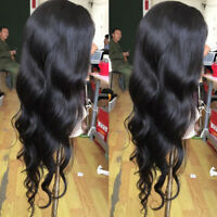100% Brazilian Human Hair Full Lace Wigs Loose Body Wave Lace Front Wig Black GP