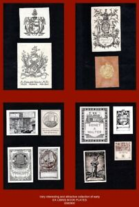 Collection x12 attractive Ex Libris Book Plates (armorial to recently modern)