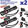 2 PACK 20000lm USB Rechargeable CREE T6 LED Tactical Flashlight Torch Eaglehawk