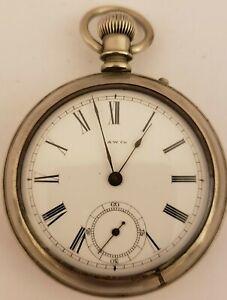 Antique 1884 WALTHAM 'Bond St' Victorian Gents 14s Silver Pin Set Pocket Watch