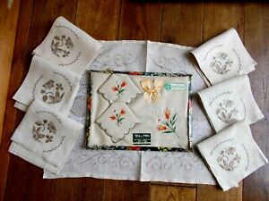 ANTIQUE~VINTAGE 2 SETS OF HAND EMBROIDERED IRISH LINEN TRAY CLOTHS WITH NAPKINS