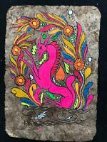 PRIMITIVE ART Painting on Handmade Paper - Amazon Rain Forrest Tribe 1960s 3