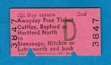 Railway Ticket ~ BR(E) 2nd Free Day Return - Cuffley etc to Stevenage etc 1980s