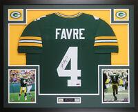 Brett Favre Autographed and Framed Green Packers Jersey Auto JSA COA