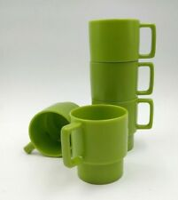 Vintage Oblique Green Stackable Mugs by PMC - MELAMINE MID CENTURY (set of 5)