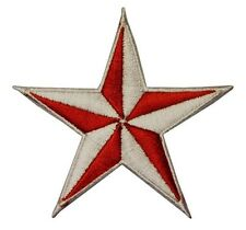3 INCH Red White Nautical Star Embroidered Iron on Applique Patch FD